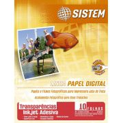 TRANSPARÊNCIA ADESIVA Inkjet (Vinil Adesivo)   10 Folhas  A4   80 micra