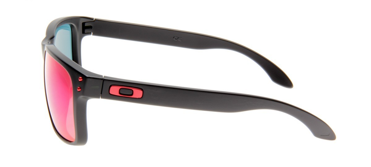 OAKLEY HOLBROOK 9102L-36 55/18 - PRETO FOSCO / RED IRIDIUM