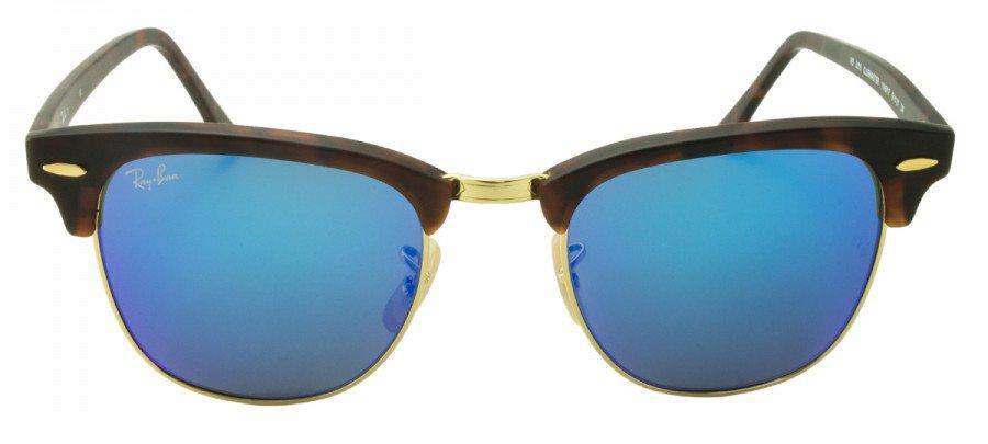 RAY-BAN Clubmaster RB3016  - Espelhado/Azul - Tartaruga/Dourado - 1145/17 51/21 3N