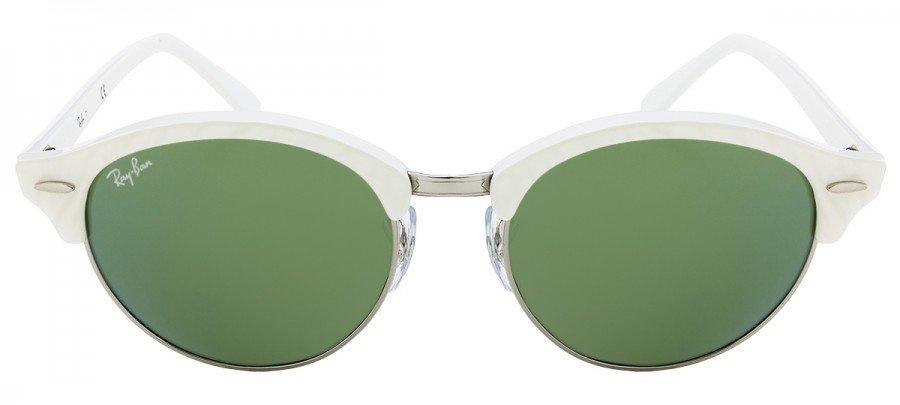 bcffcb4e0 RAY-BAN Clubround RB4246 - Branco - Verde/Espelhado - 988/2X 51/19 ...
