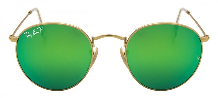 RAY-BAN Round Metal RB3447 Polarizado/Espelhado - Dourado/Verde- 112/P9 50/21 3P