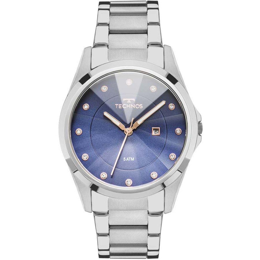 Relógio Technos Prateado Feminino Elegance Crystal GN10AT/1A