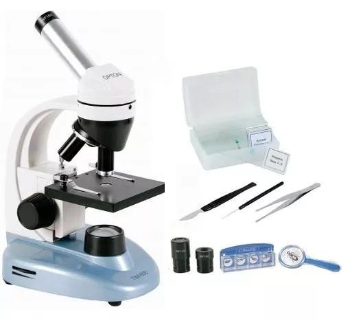 MICROSCÓPIO BIOLÓGICO MONOCULAR LED AUMENTO DE 40-640X - ACOMPANHA KIT COM 6 LAMINAS PREPARADAS