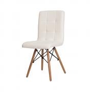 Cadeira De Jantar Charles Eames Gomos Branca Com Base De Madeira