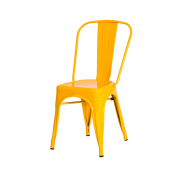 Cadeira De Jantar Tolix Iron Industrial Amarela