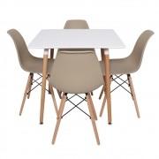 Conjunto Mesa Quadrada Charles Eiffel Branca 80x80cm E 4 Cadeiras Charles Eames Eiffel Nude