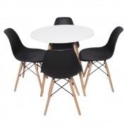 Conjunto Mesa Redonda Charles Eames Eiffel Preta DSW 120cm E 4 Cadeiras Charles Eiffel Branca