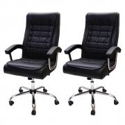 Kit 2 Cadeiras de Escritório Presidente Monique Big Preta