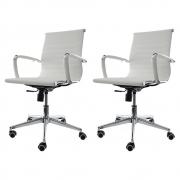 Kit 2 Cadeiras de Escritório Diretor Stripes Branco