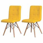 Kit 2 Cadeiras De Jantar Charles Eames Gomos Amarela Com Base De Madeira