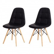 Kit 2 Cadeiras De Jantar Estofada Charles Eames Botonê Preto Com Base De Madeira