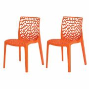 Kit 2 Cadeiras De Jantar Gruvyer Design Laranja Com Inmetro