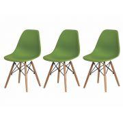Kit 3 Cadeiras De Jantar Charles Eames Eiffel Verde Base De Madeira