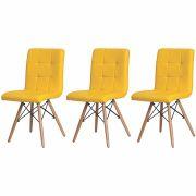 Kit 3 Cadeiras De Jantar Charles Eames Gomos Amarela Com Base De Madeira