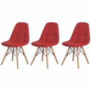 Kit 3 Cadeiras De Jantar Estofada Charles Eames Botonê VermelhaCom Base De Madeira