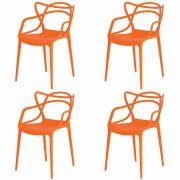 Kit 4 Cadeiras De Jantar Allegra Master Laranja Com Inmetro