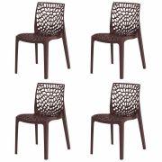Kit 4 Cadeiras De Jantar Gruvyer Design Marrom Com Inmetro