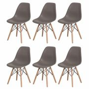 Kit 6 Cadeiras De Jantar Charles Eames Eiffel Fendi Base De Madeira