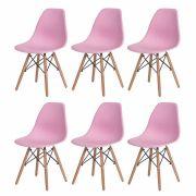 Kit 6 Cadeiras De Jantar Charles Eames Eiffel Rosa Claro Base De Madeira