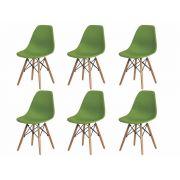 Kit 6 Cadeiras De Jantar Charles Eames Eiffel Verde Base De Madeira