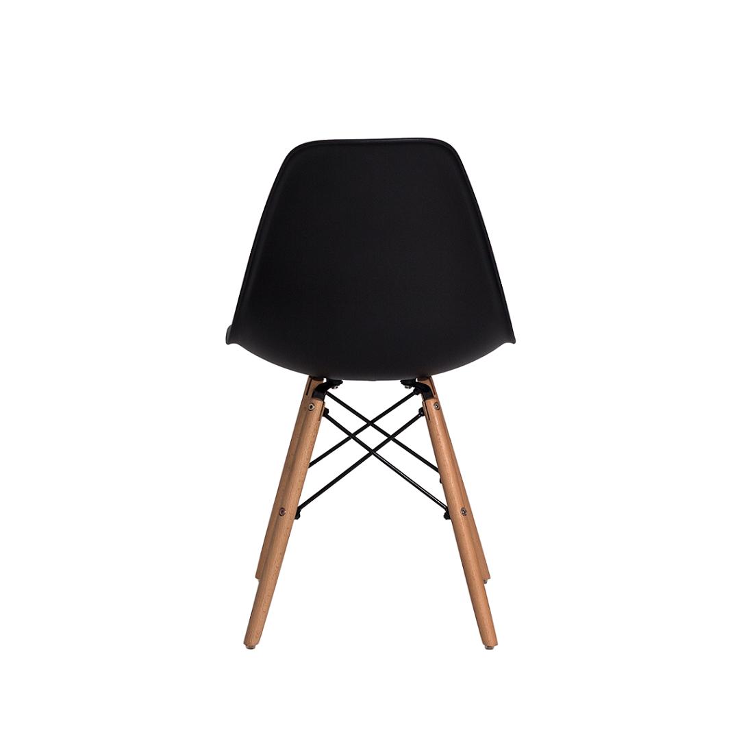 Cadeira De Jantar Charles Eames Eiffel Preta Com Base De Madeira