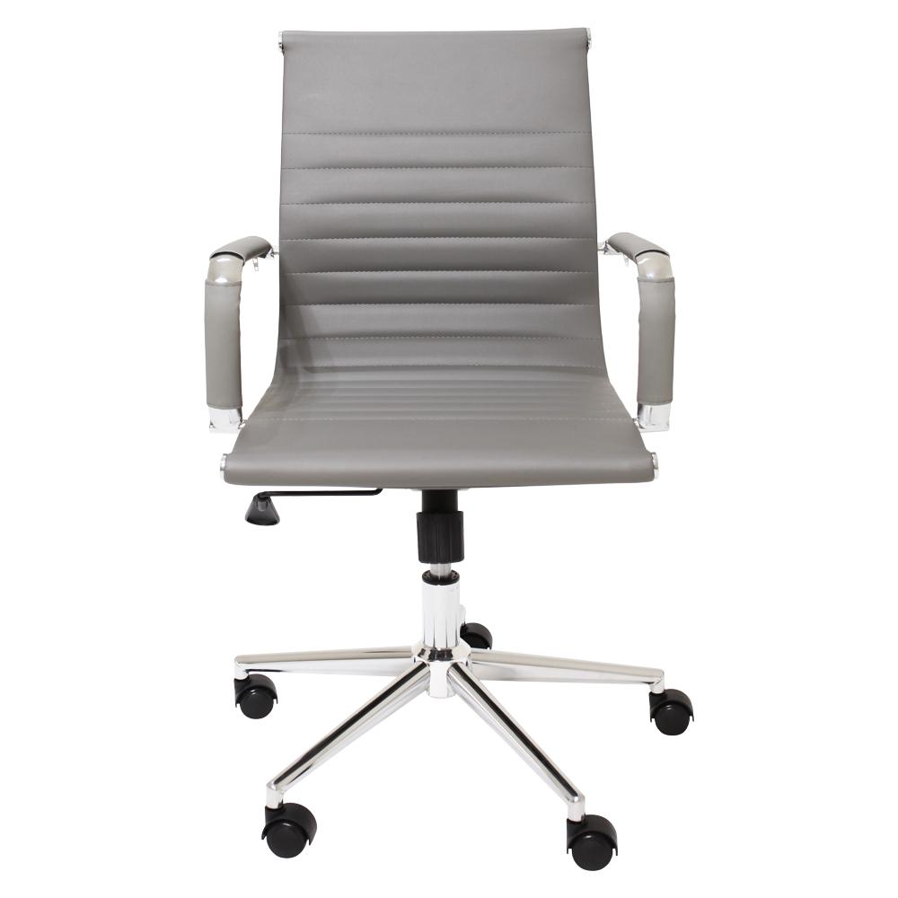 Cadeira De Escritório Diretor Stripes Esteirinha Charles Eames Eiffel Cinza