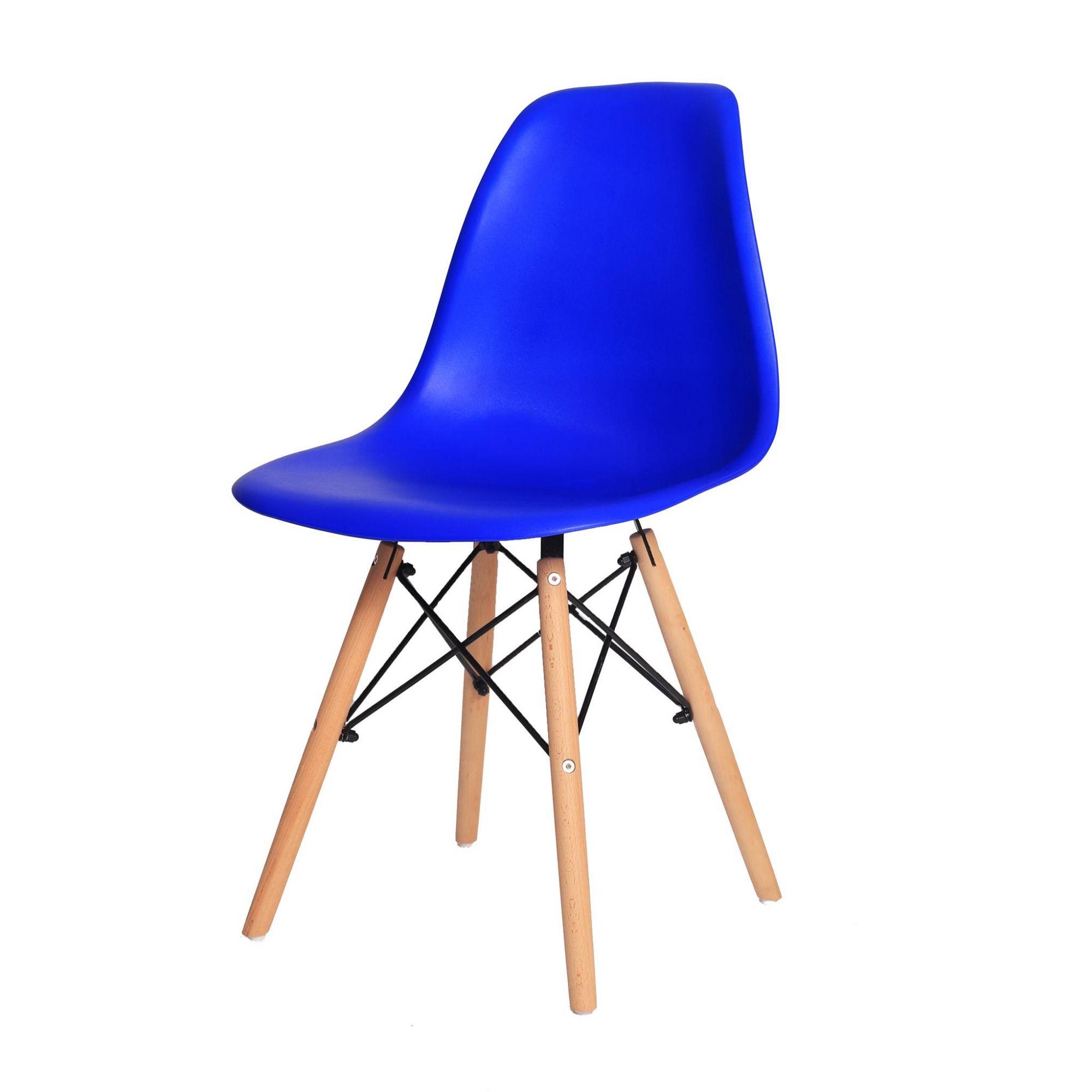 Cadeira De Jantar Charles Eames Eiffel Azul Bic Base De Madeira