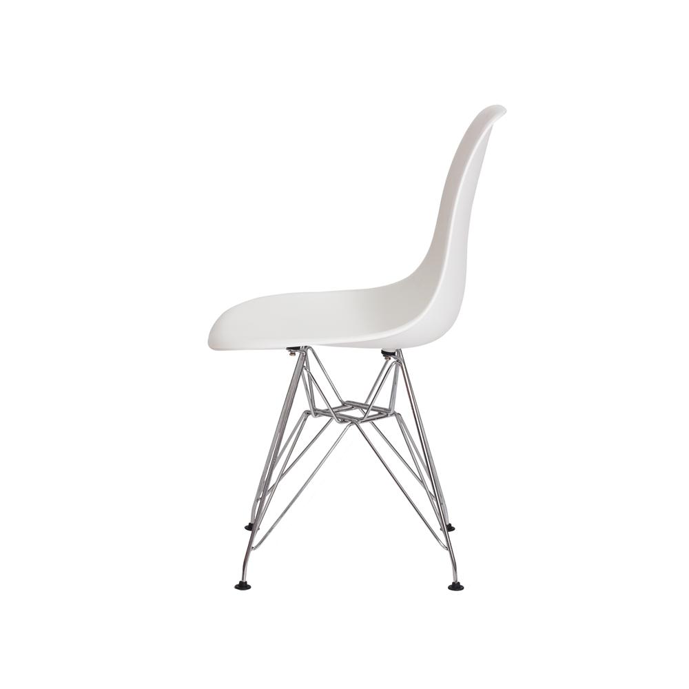 Cadeira De Jantar Charles Eames Eiffel Branca Base De Aço Cromado