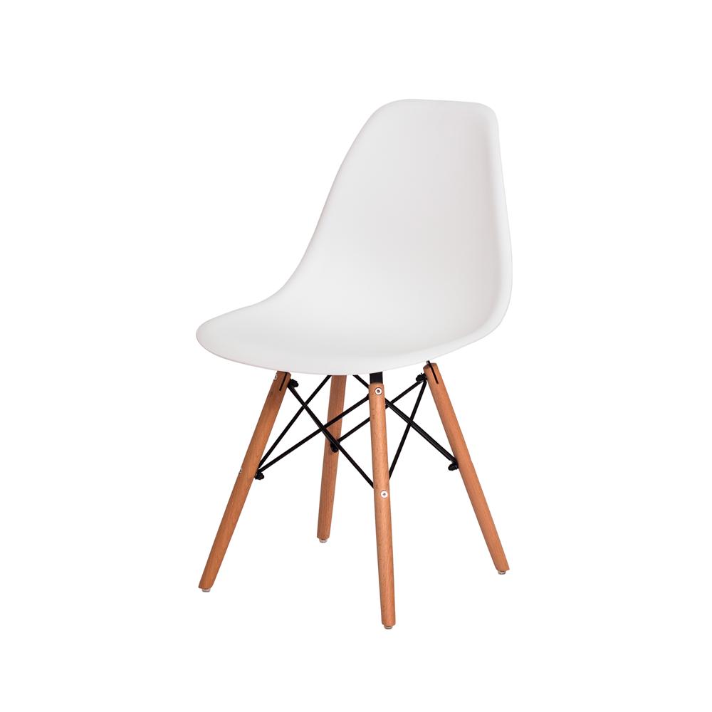 Cadeira De Jantar Charles Eames Eiffel Branca Base De Madeira