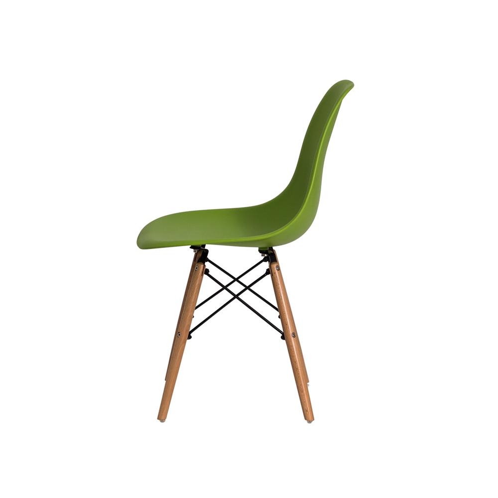 Cadeira De Jantar Charles Eames Eiffel Verde Com Base De Madeira