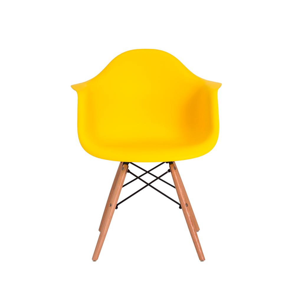 Cadeira De Jantar Charles Eames Eiffel Com Braço Amarela Base De Madeira
