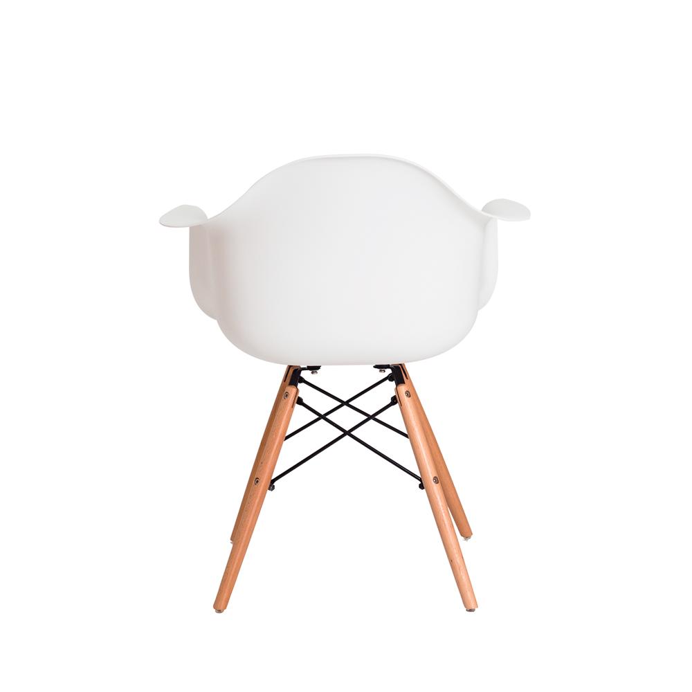 Cadeira De Jantar Charles Eames Eiffel Com Braço Branco Base De Madeira