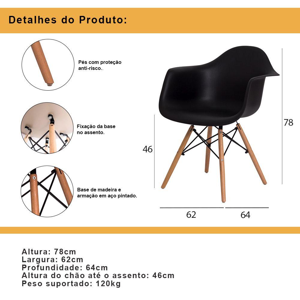 Cadeira De Jantar Charles Eames Eiffel Com Braço Preto Base De Madeira