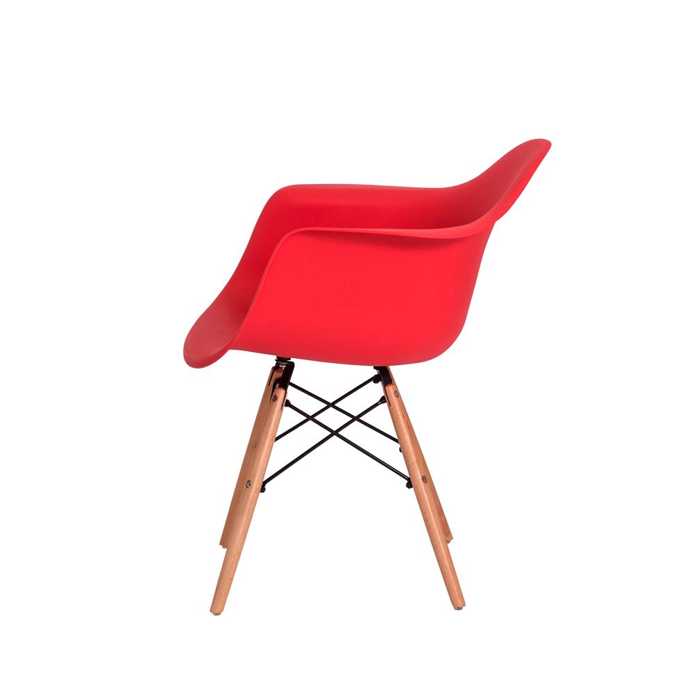 Cadeira De Jantar Charles Eames Eiffel Com Braço Vermelho Base De Madeira