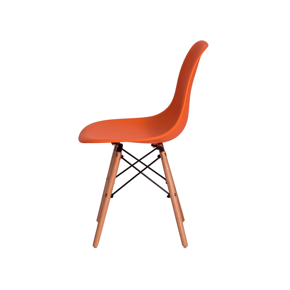 Cadeira De Jantar Charles Eames Eiffel Laranja Base De Madeira