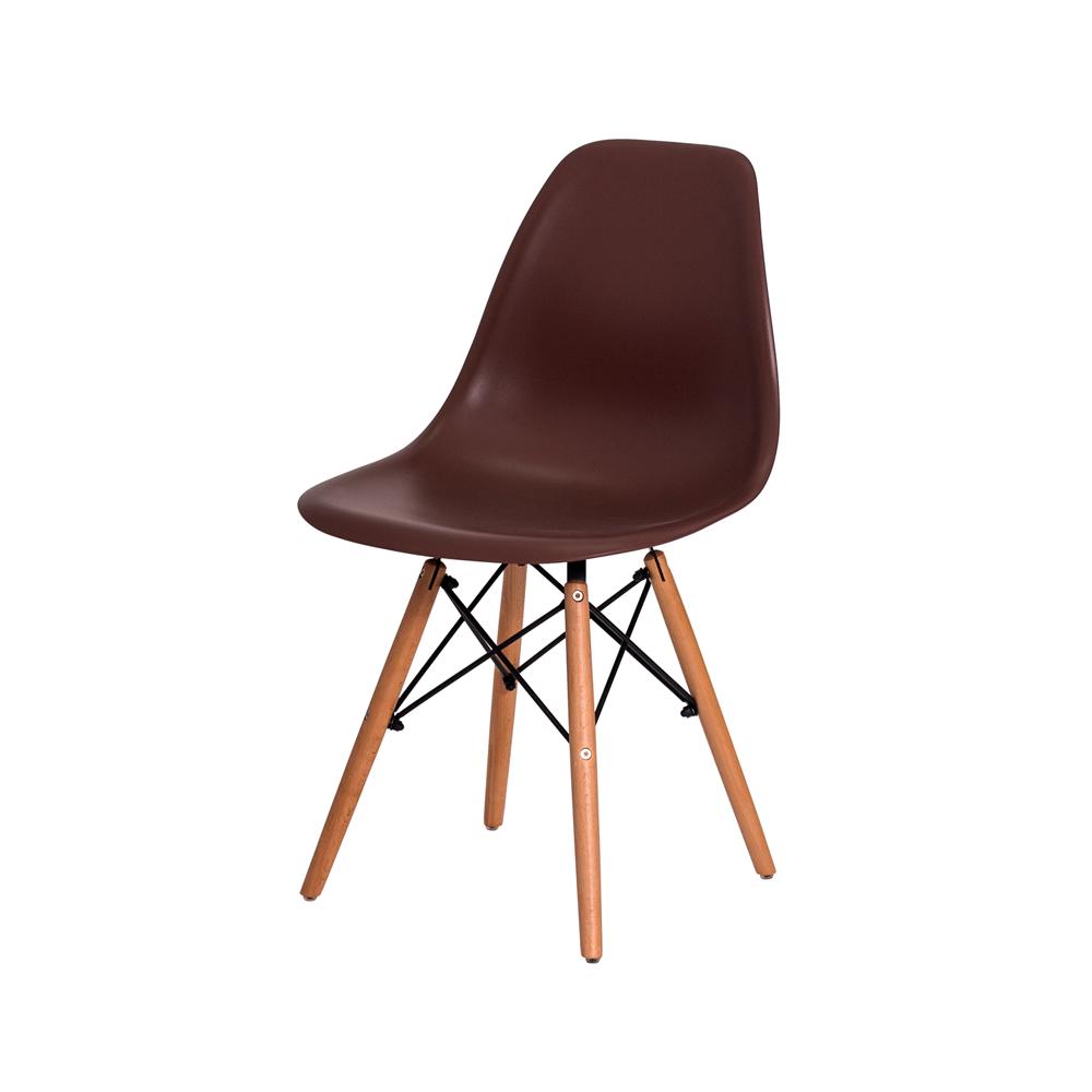 Cadeira De Jantar Charles Eames Eiffel Marrom Base De Madeira