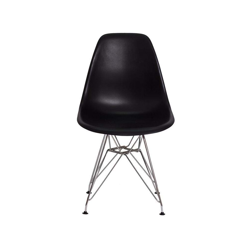 Cadeira De Jantar Charles Eames Eiffel Preta Base De Aço Cromado