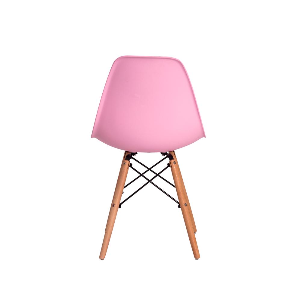 Cadeira De Jantar Charles Eames Eiffel Rosa Claro Base De Madeira