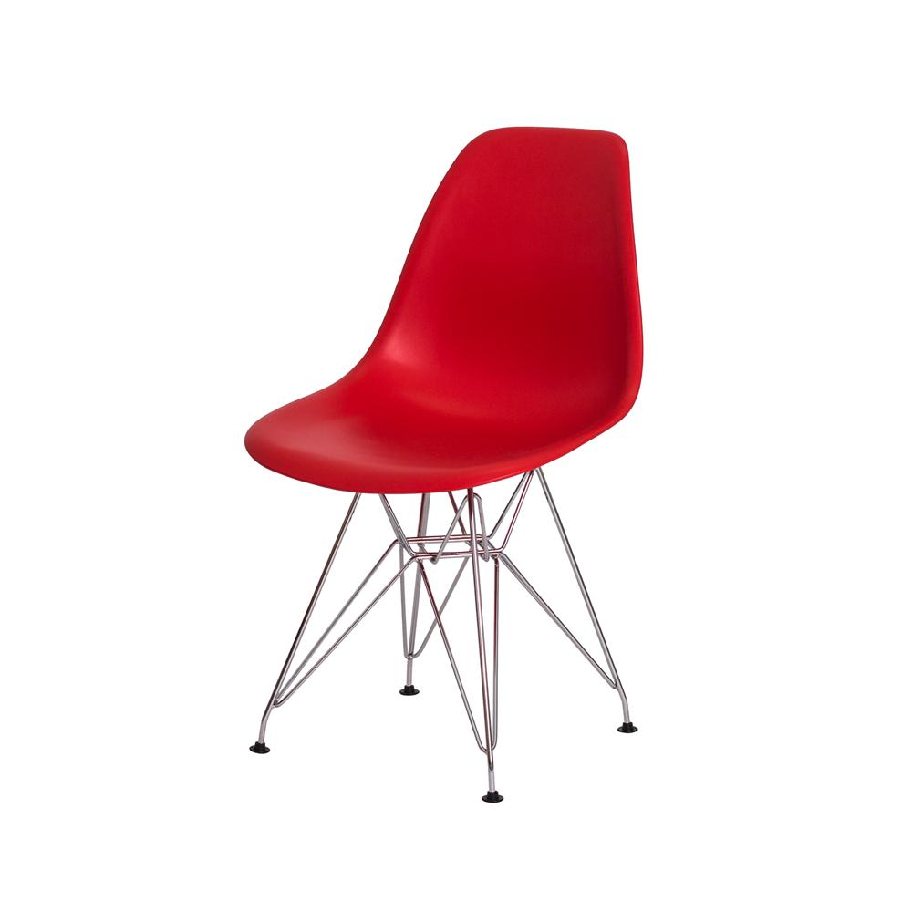 Cadeira De Jantar Charles Eames Eiffel Vermelha Com Base De Aço Cromado