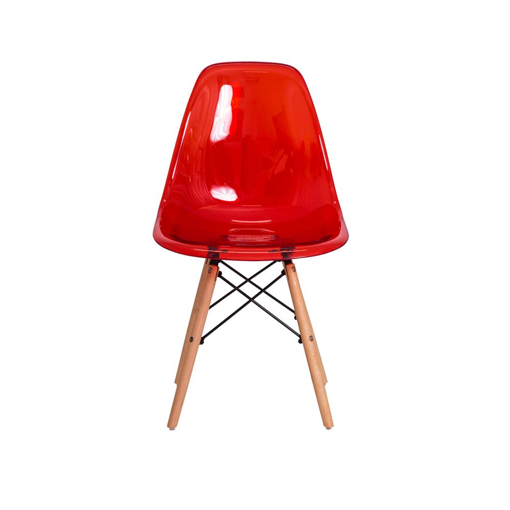 Cadeira De Jantar Charles Eames Eiffel Vermelho Translúcido Com Base De Madeira