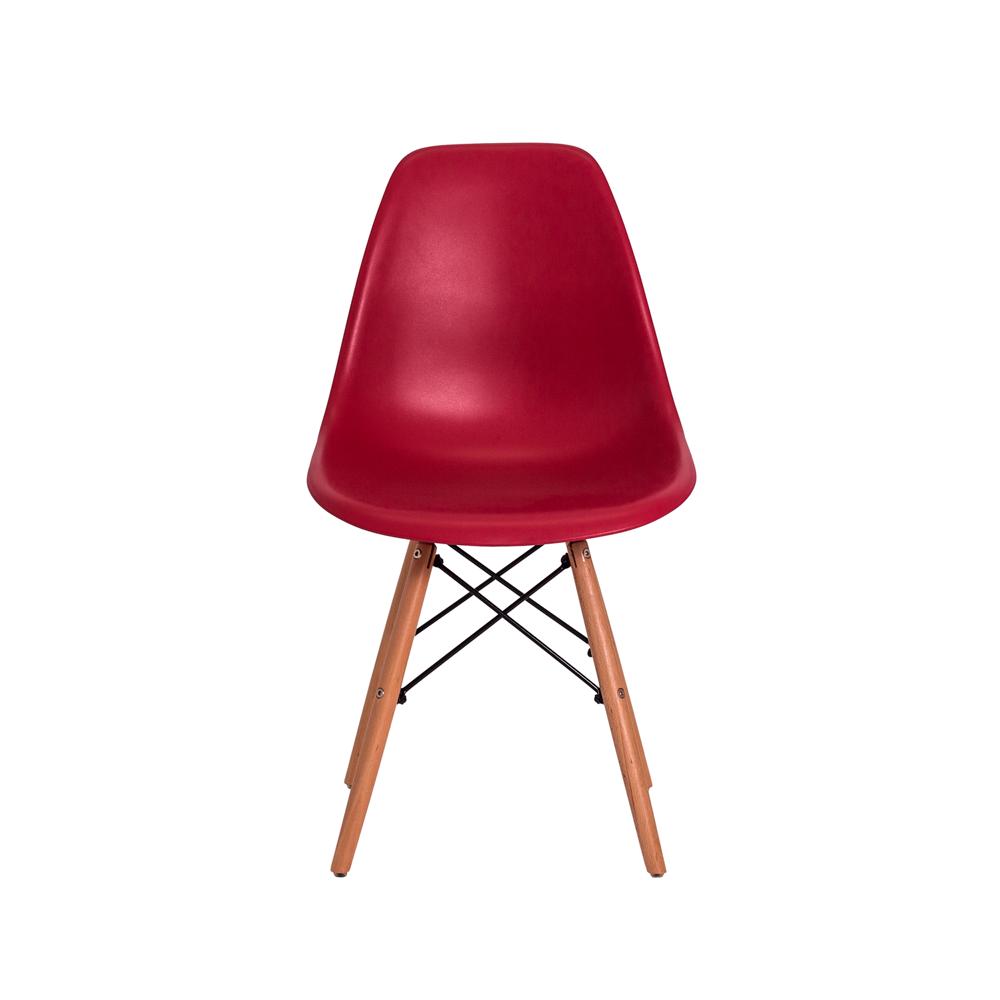 Cadeira De Jantar Charles Eames Eiffel Vinho Base De Madeira