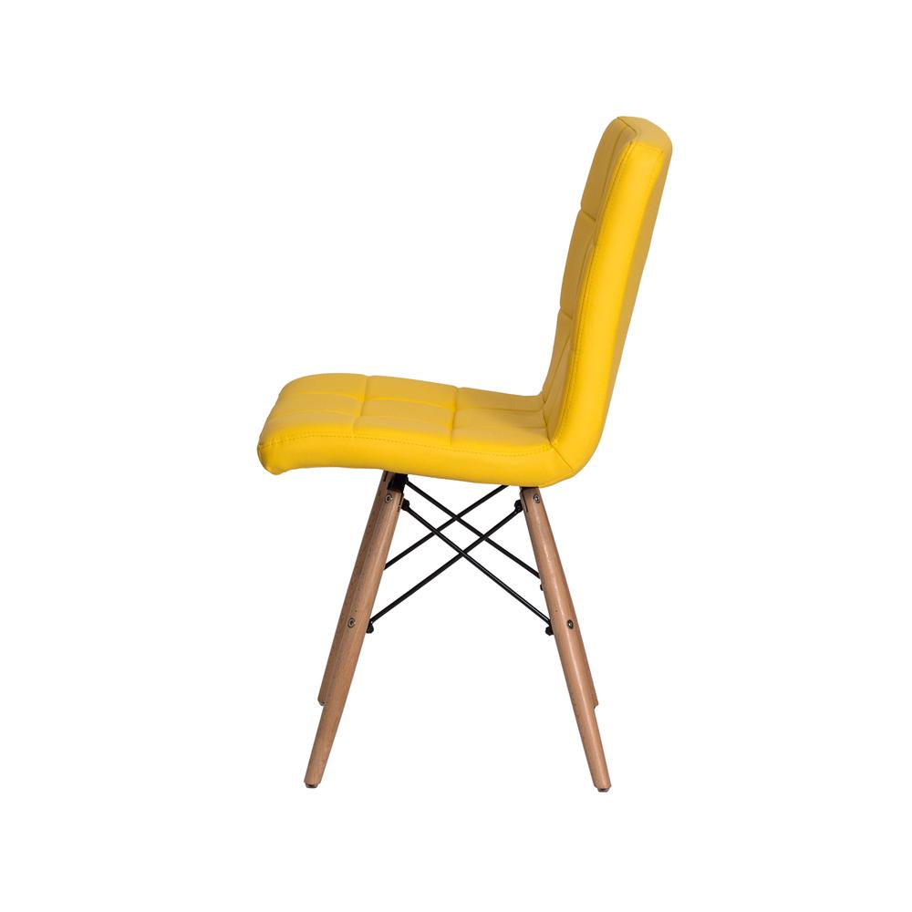 Cadeira De Jantar Charles Eames Gomos Amarela Com Base De Madeira