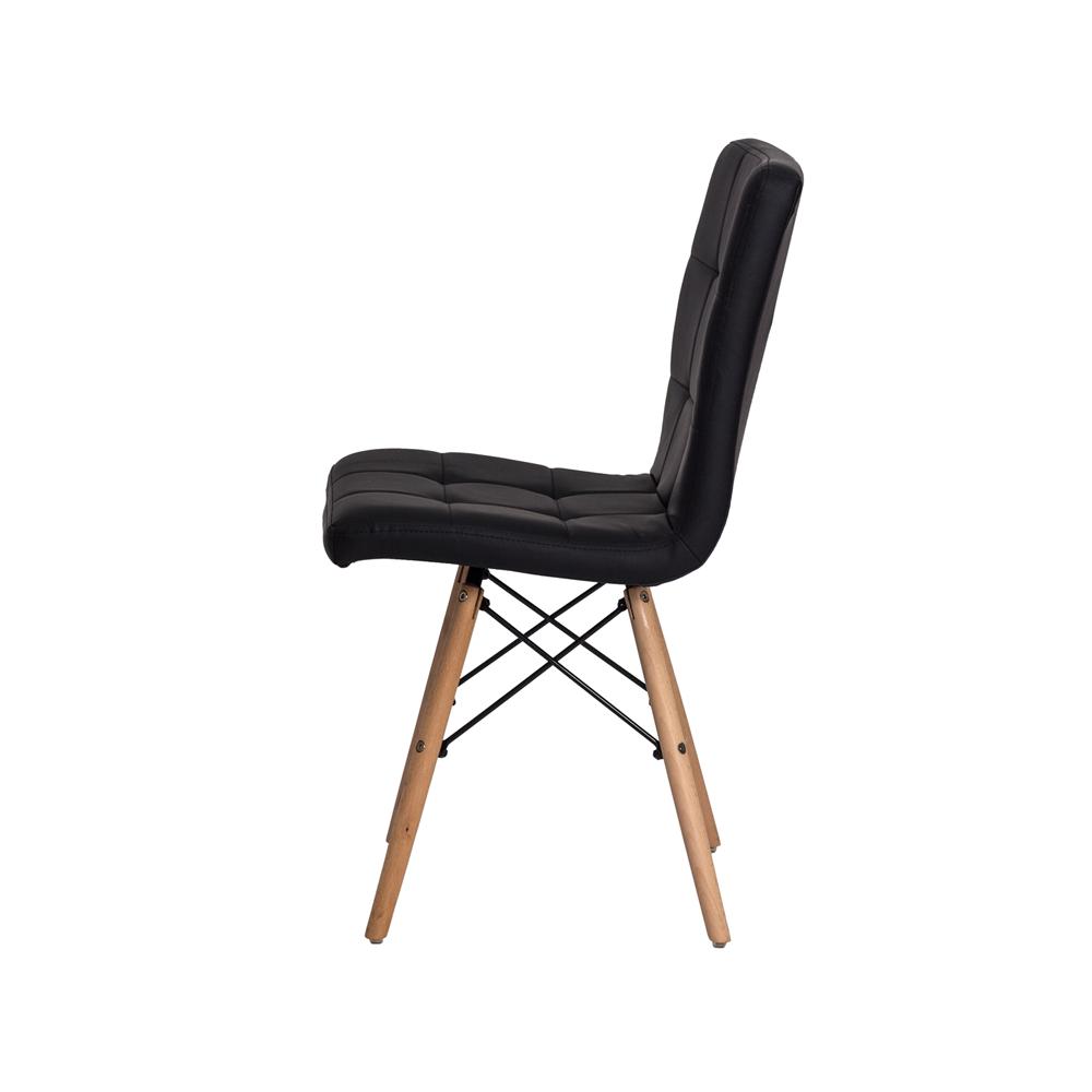 Cadeira De Jantar Charles Eames Gomos Preta Com Base De Madeira