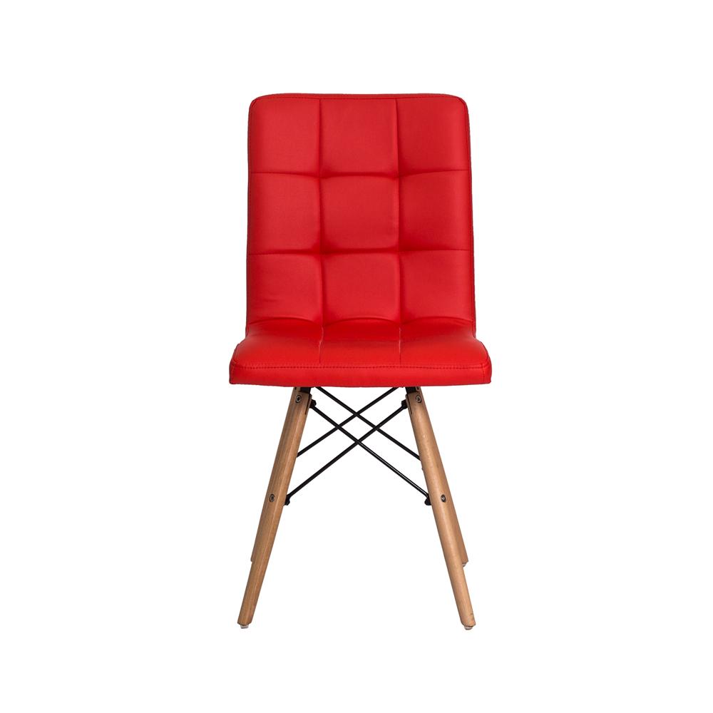 Cadeira De Jantar Charles Eames Gomos Vermelha Com Base De Madeira