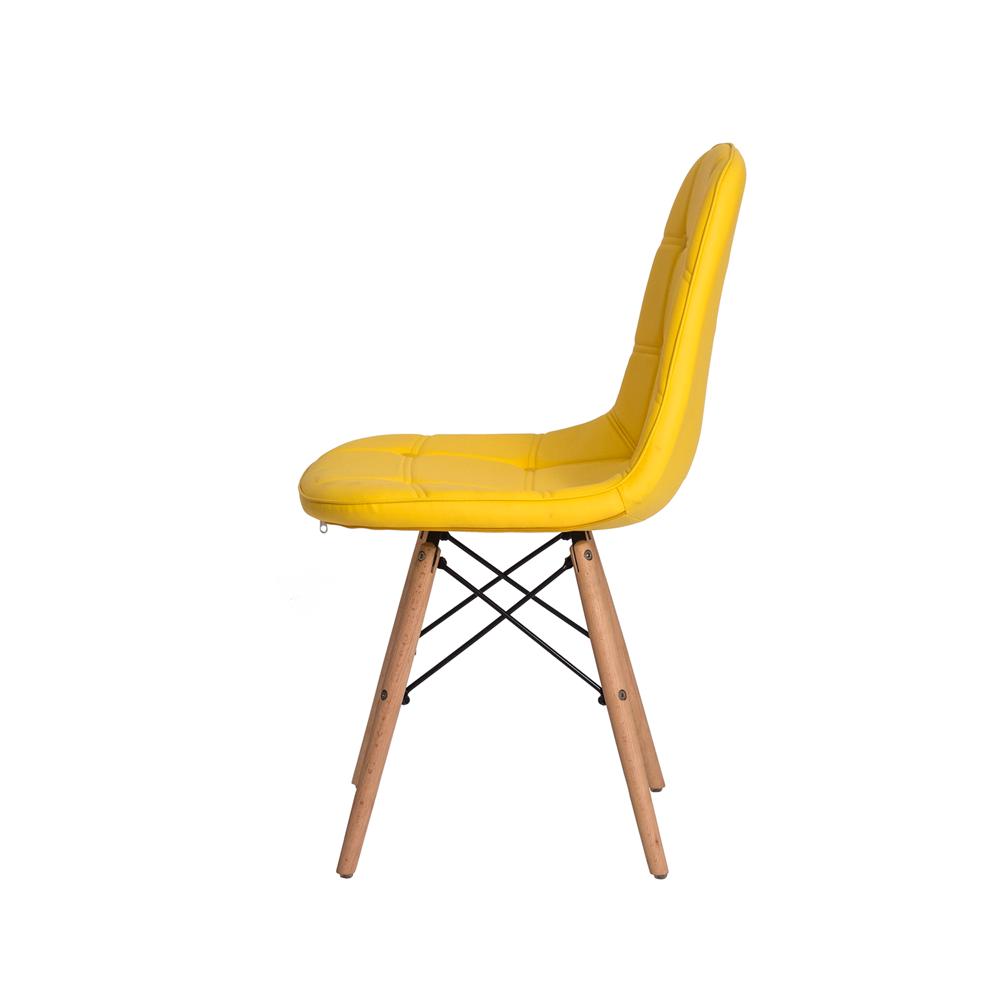 Cadeira De Jantar Estofada Charles Eames Botonê Amarela Com Base De Madeira
