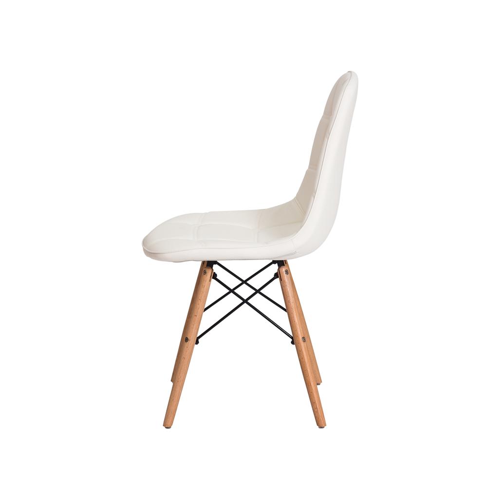 Cadeira De Jantar Estofada Charles Eames Botonê Branca Com Base De Madeira
