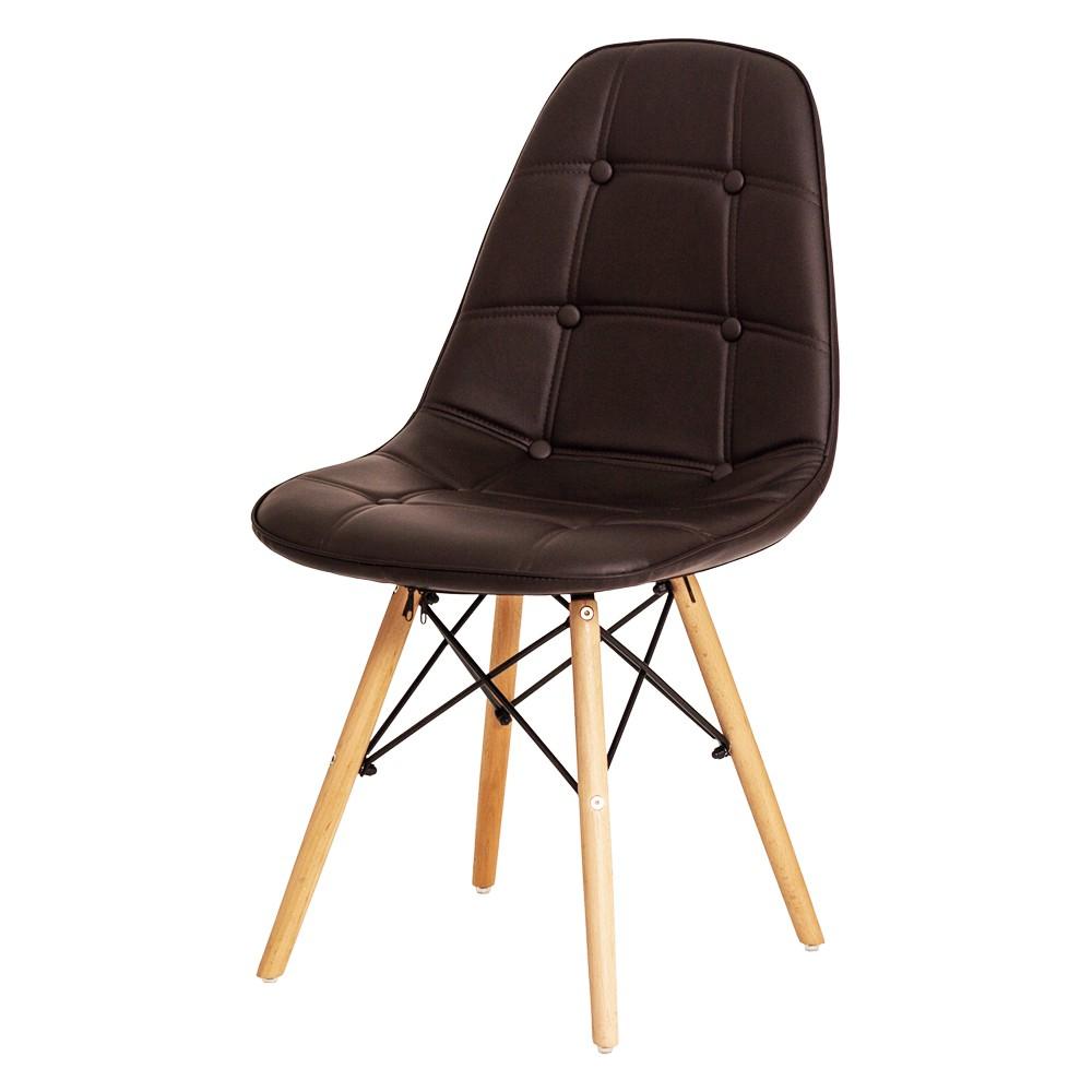 Cadeira De Jantar Estofada Charles Eames Botonê Marrom Café Com Base De Madeira
