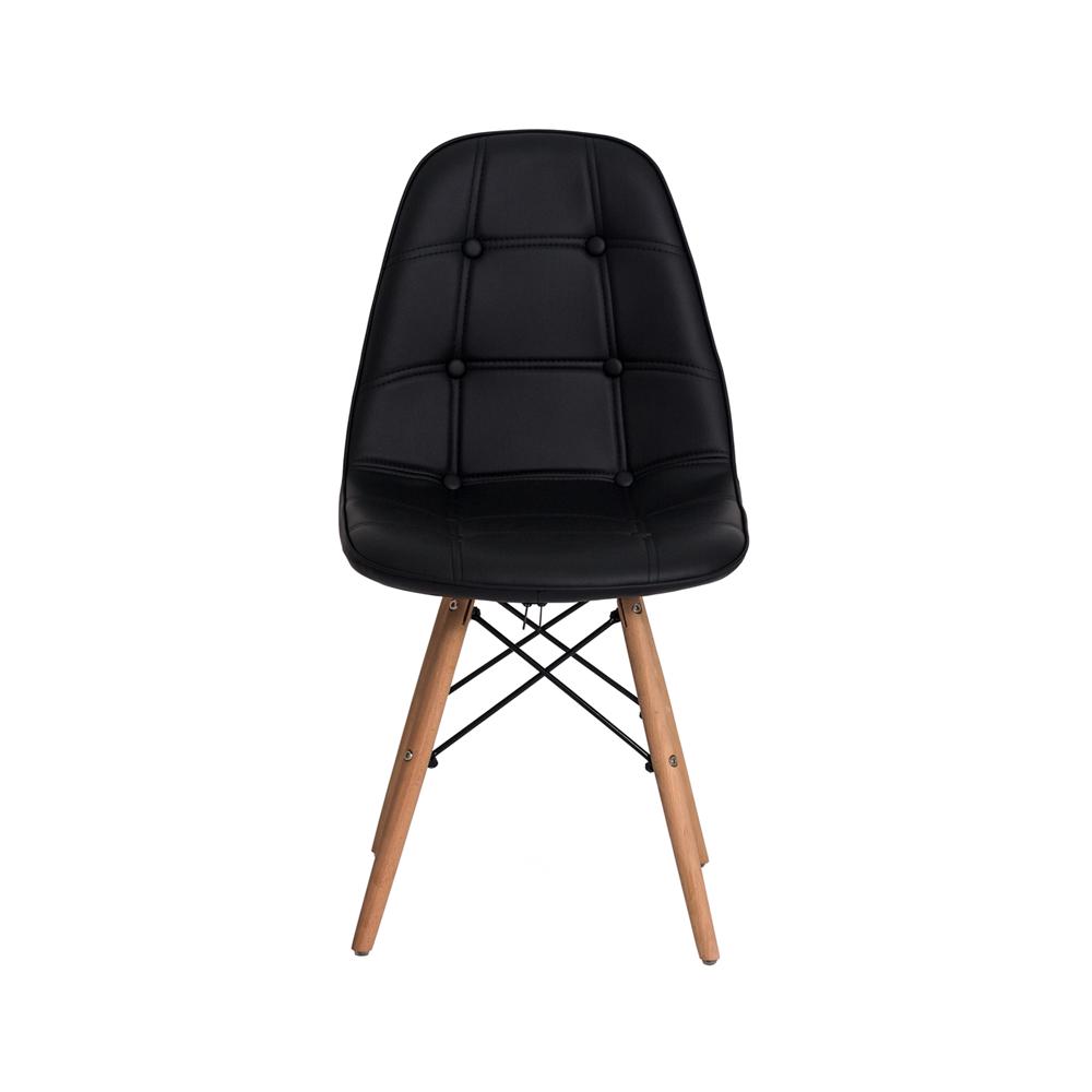 Cadeira De Jantar Estofada Charles Eames Botonê Preto Com Base De Madeira