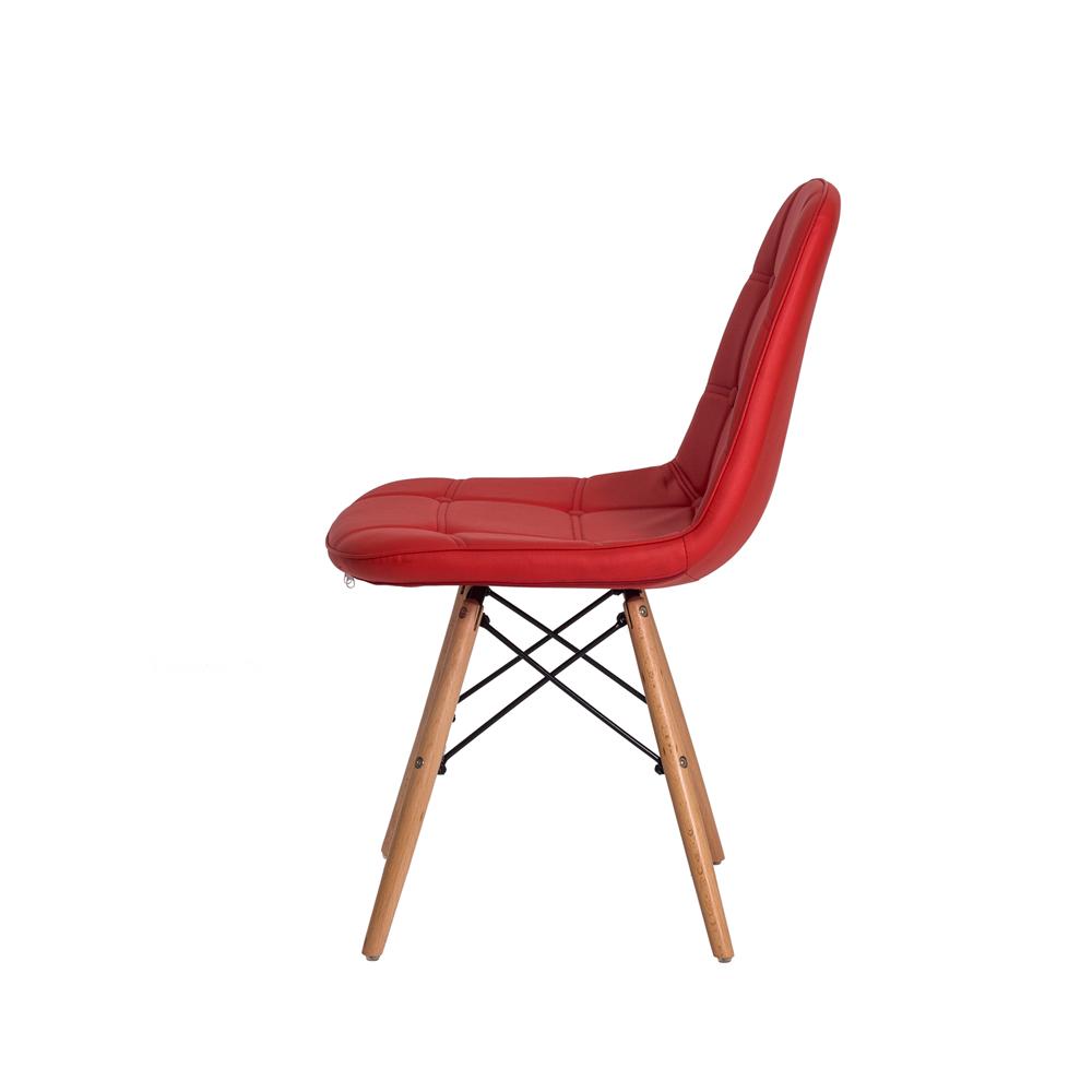 Cadeira De Jantar Estofada Charles Eames Botonê Vermelha Com Base De Madeira
