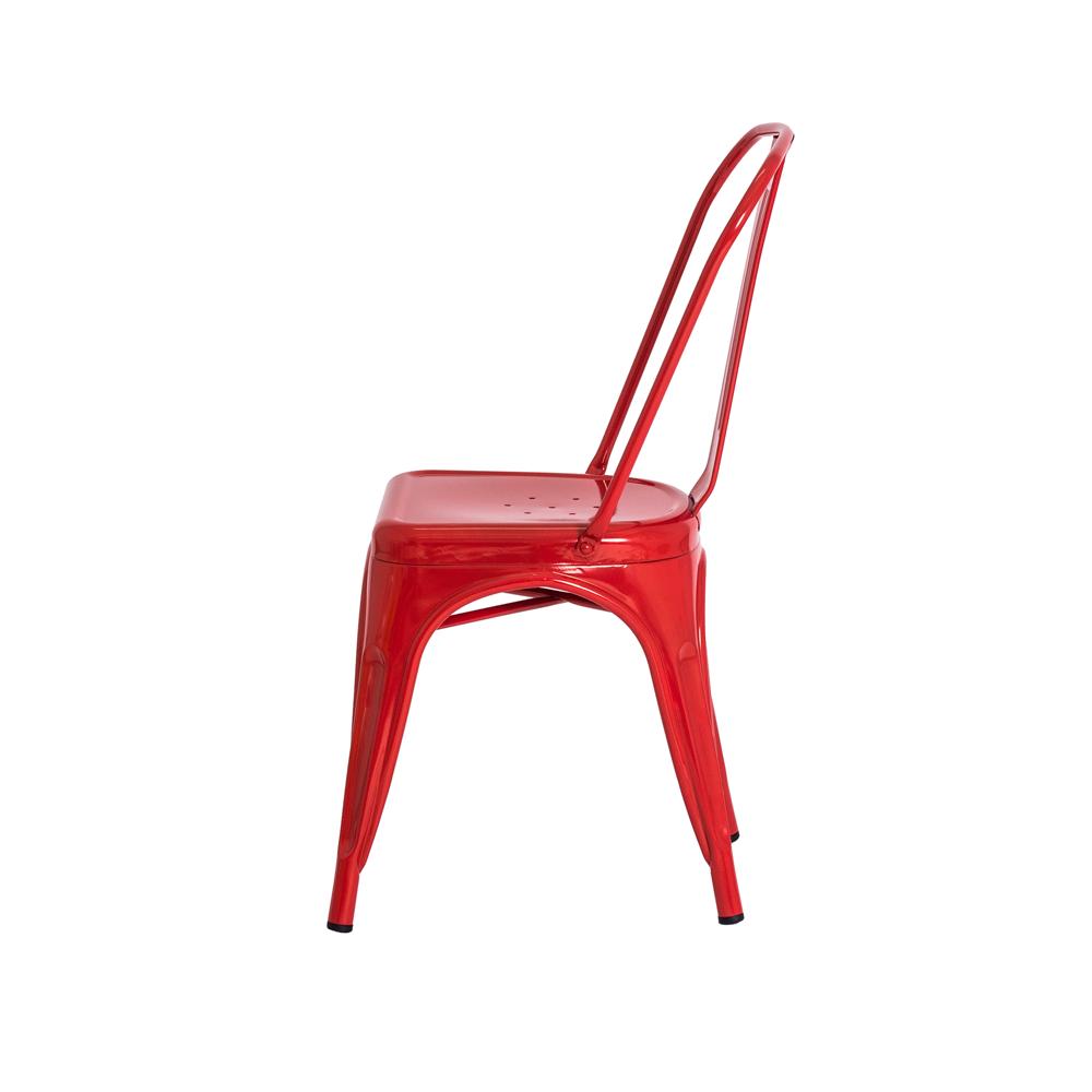 Cadeira De Jantar Tolix Iron Industrial Vermelha